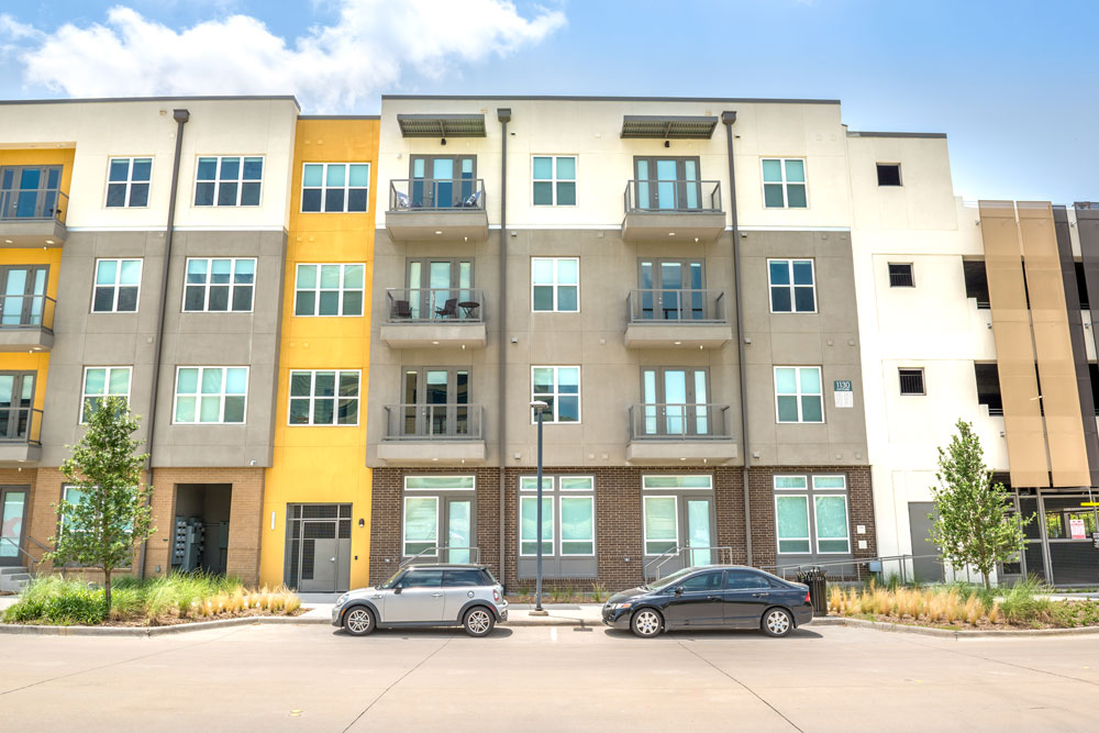 Apartment exterior with multiple colored outside