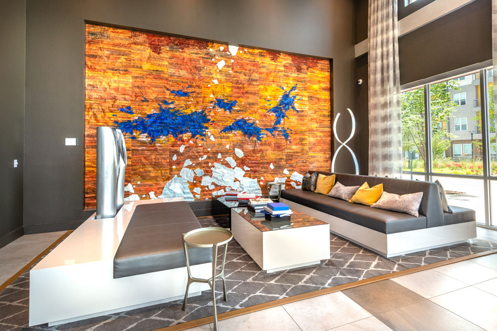 Lobby seating area with modern art and modern furniture