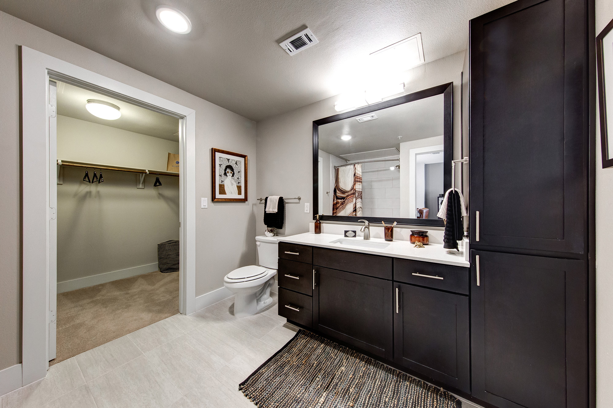 Bathroom with quartz counters, walk-in closet, and black cabinetry