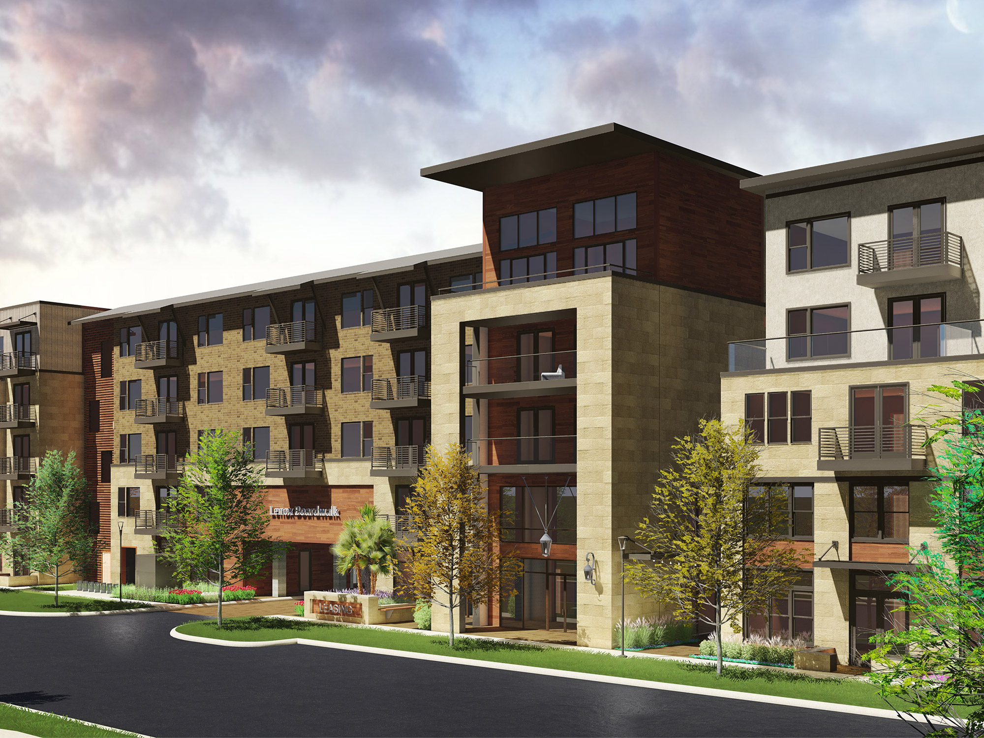 Rendering showing exterior of community in the daytime
