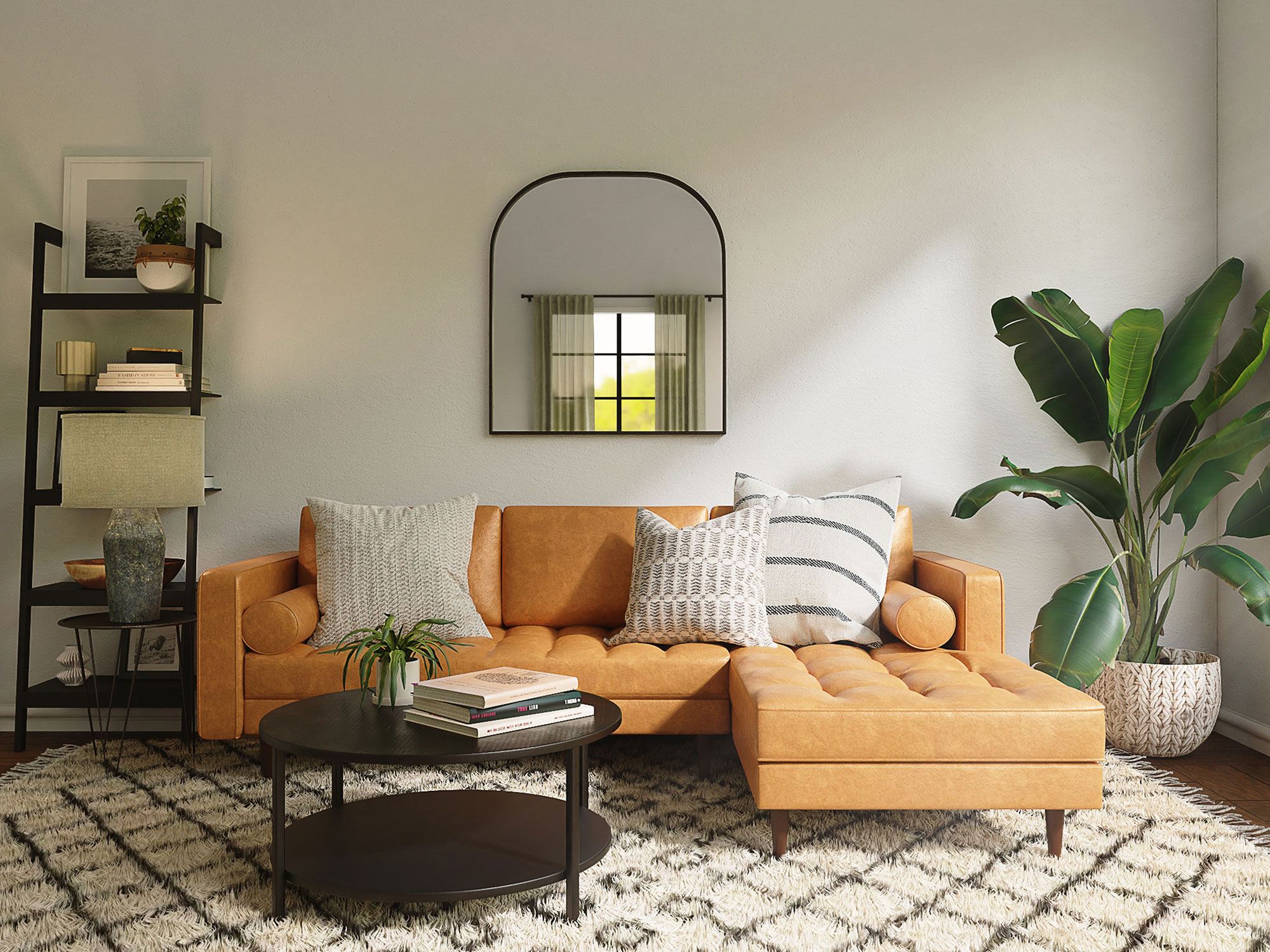 Modern living room with small sectional, coffee table, rug and decor