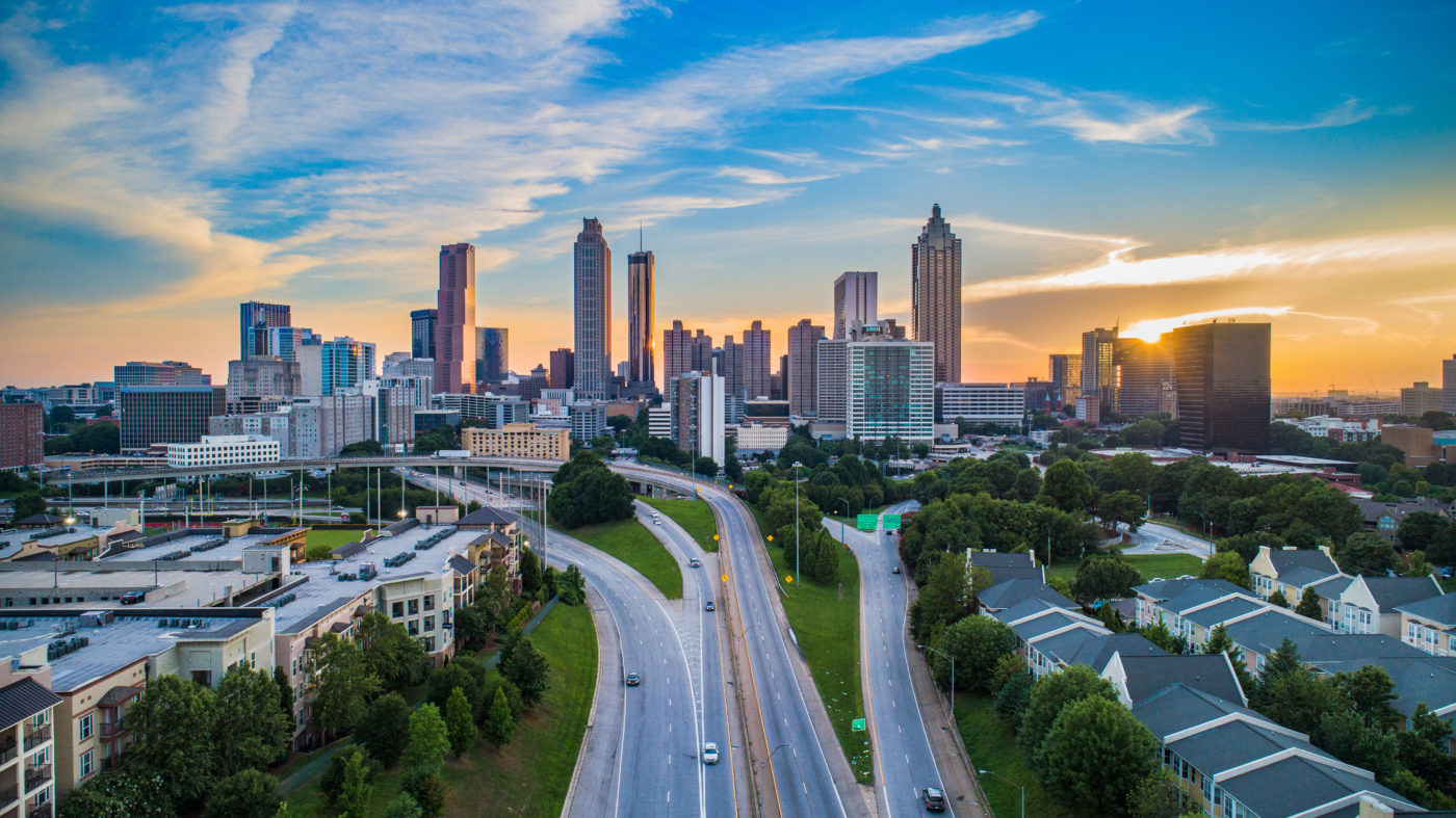 panoramic shot of Downtown Atlanta at dusk
