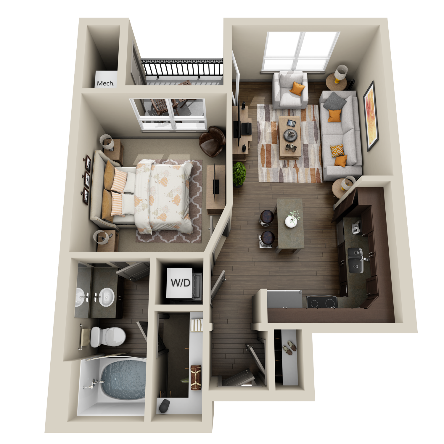 A1 floor plan featuring 1 bed and 1 bath