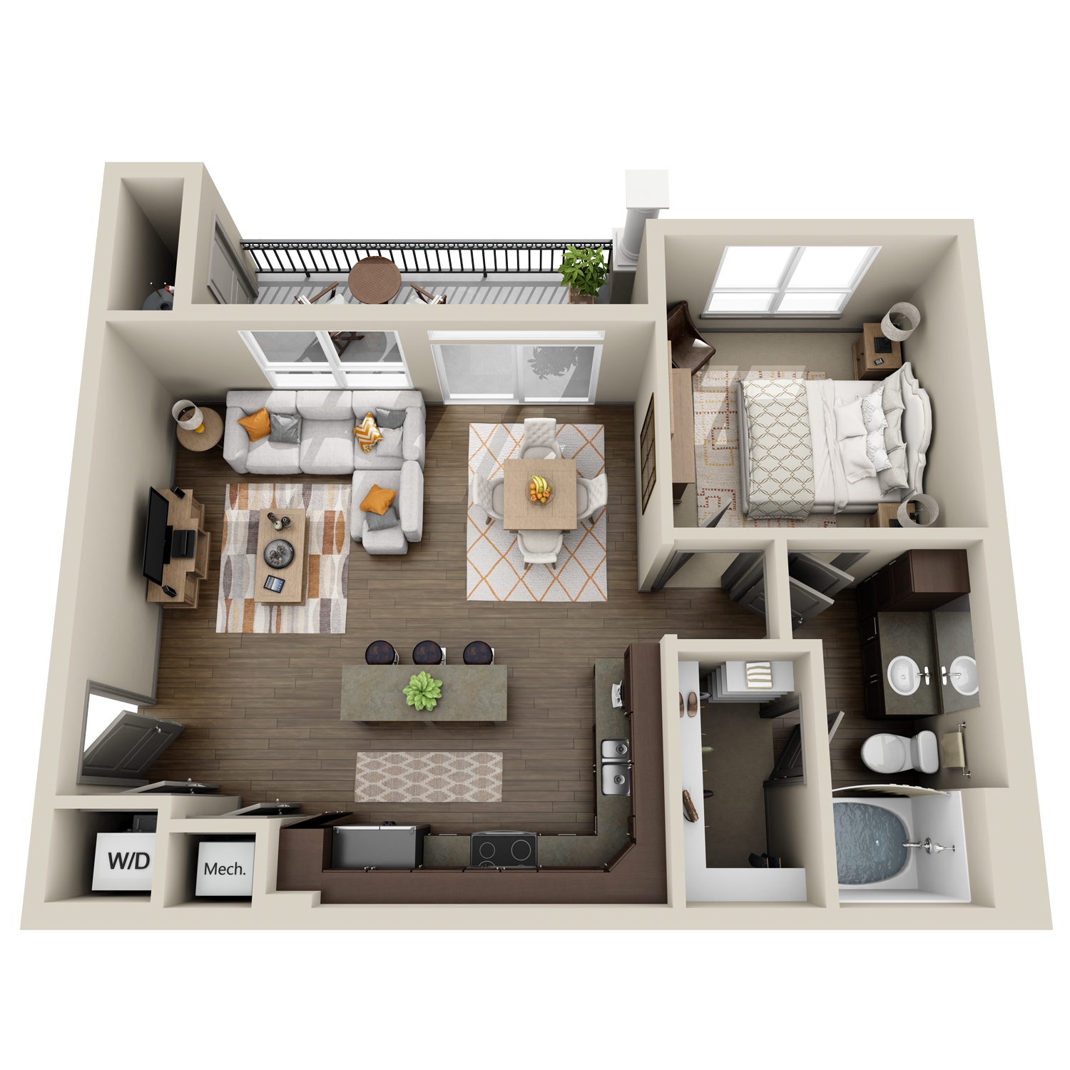 A3 floor plan featuring 1 bed and 1 bath