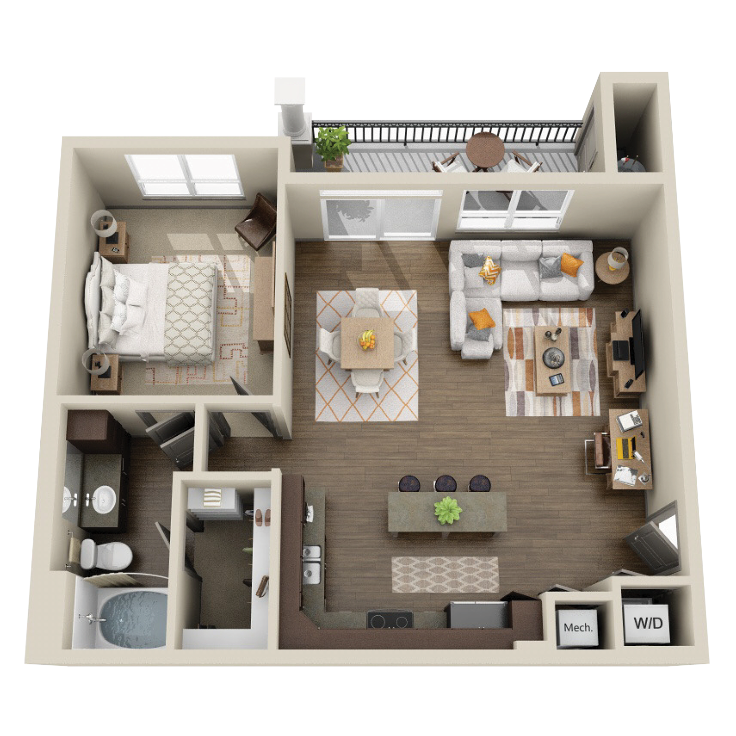 A3A floor plan featuring 1 bed and 1 bath