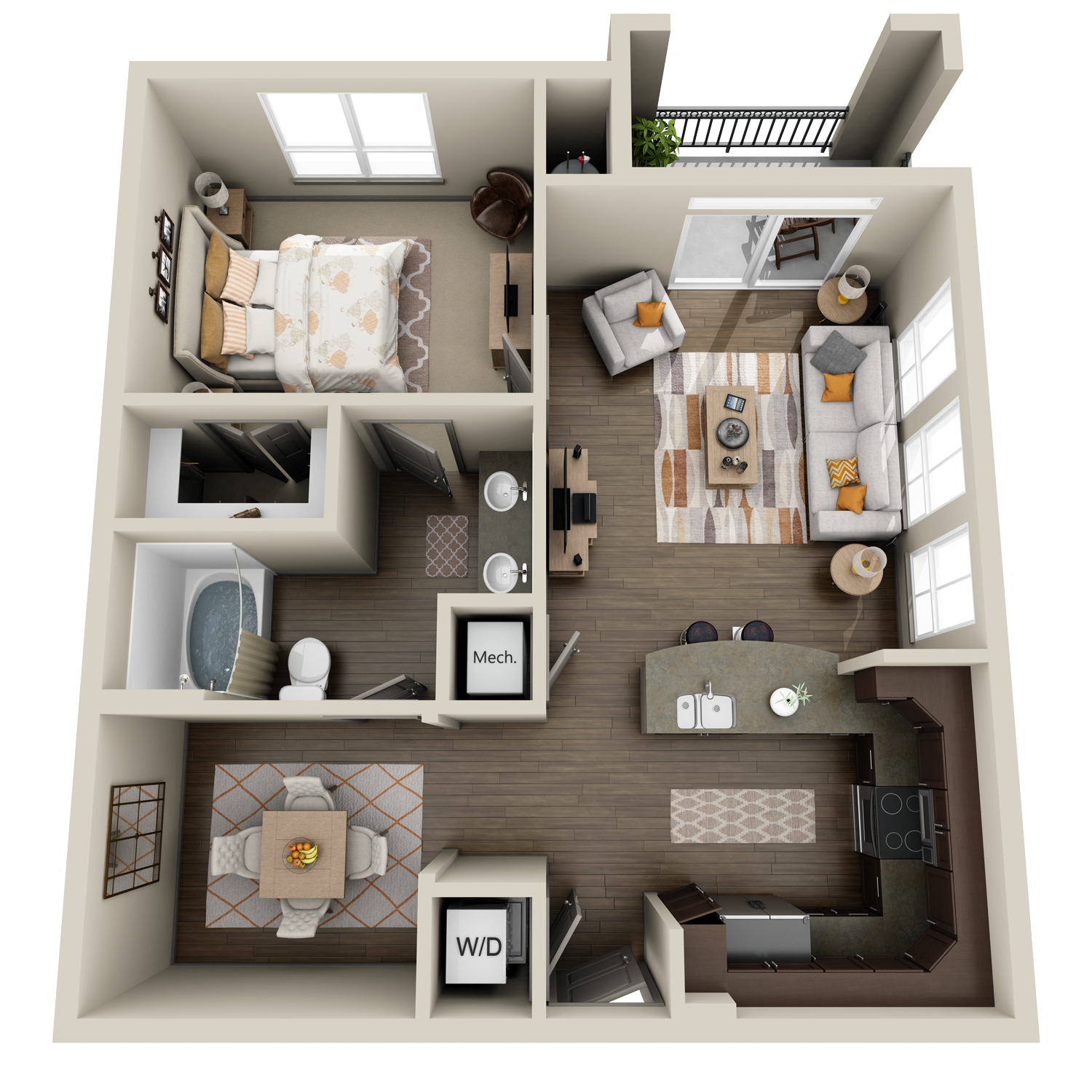A5 floor plan featuring 1 bed and 1 bath