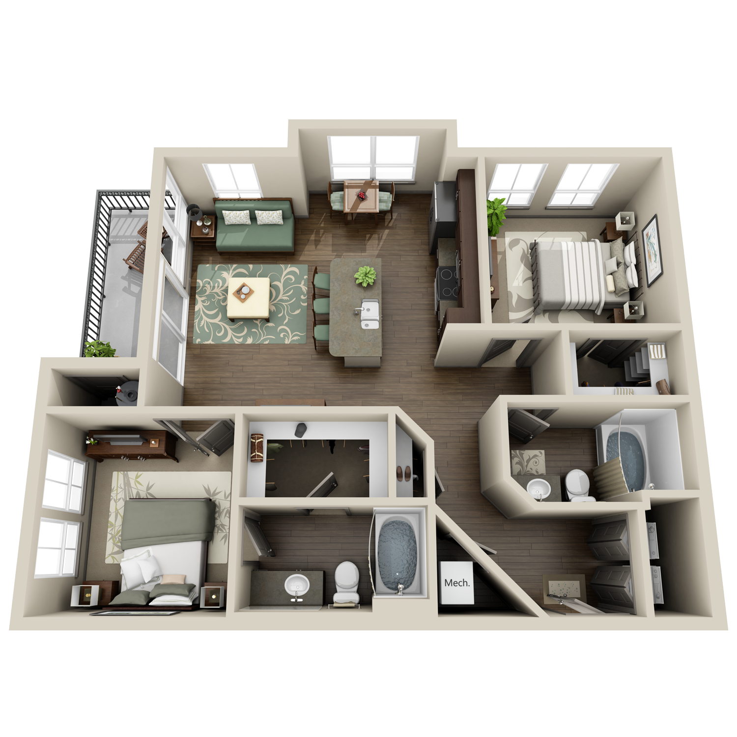 B1 floor plan featuring 2 bedrooms and 2 baths