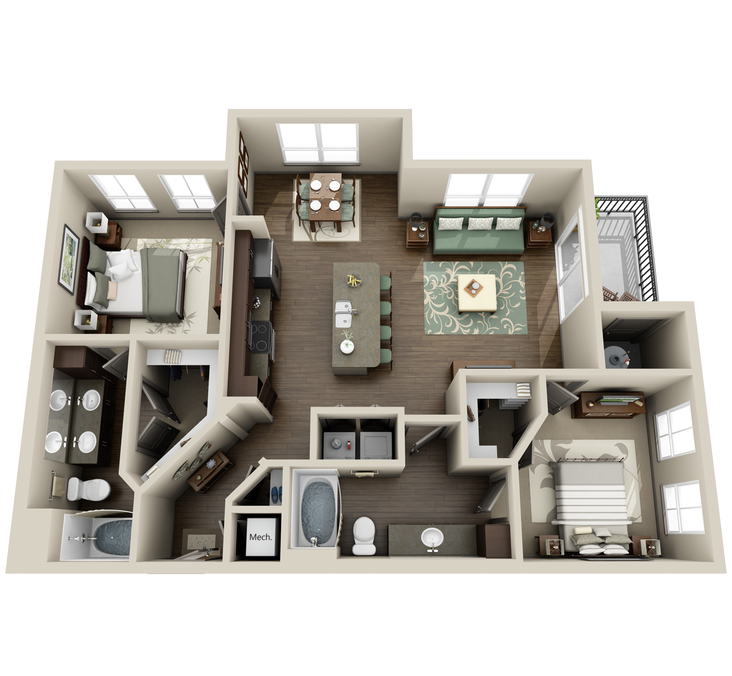 B2 floor plan featuring 2 bedrooms and 2 baths