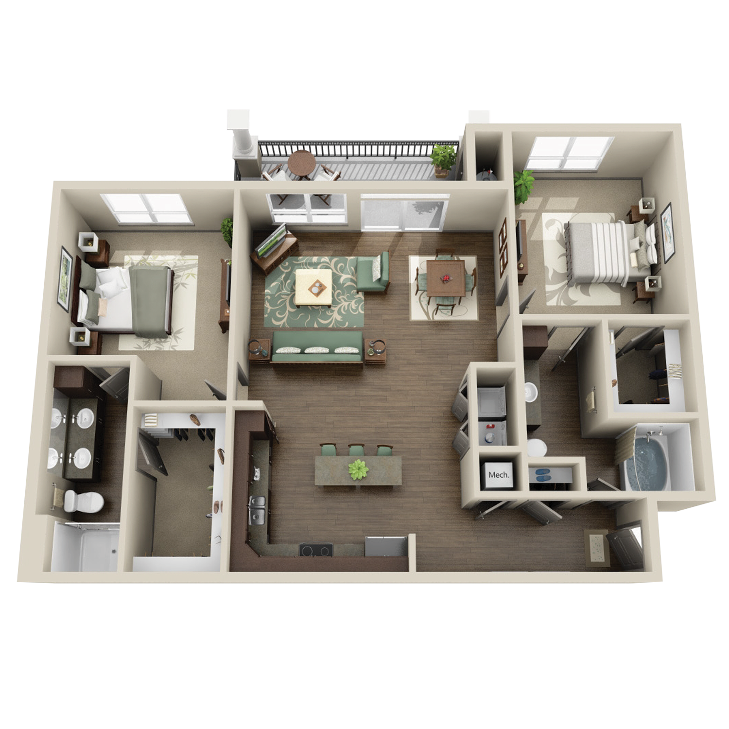 B3A floor plan featuring 2 bed and 2 baths