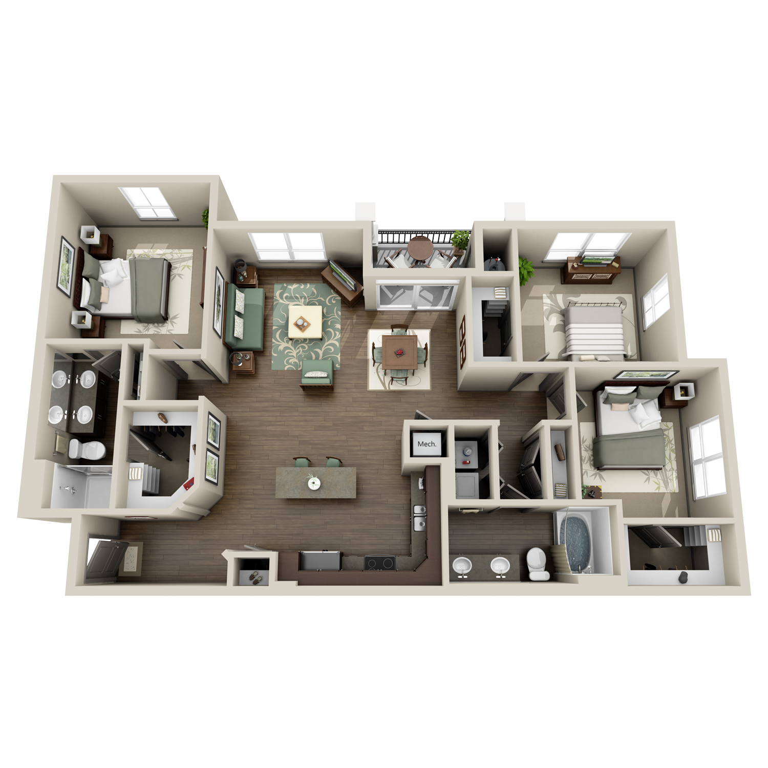 C1/C1A floor plan featuring 3 bedrooms and 2 baths