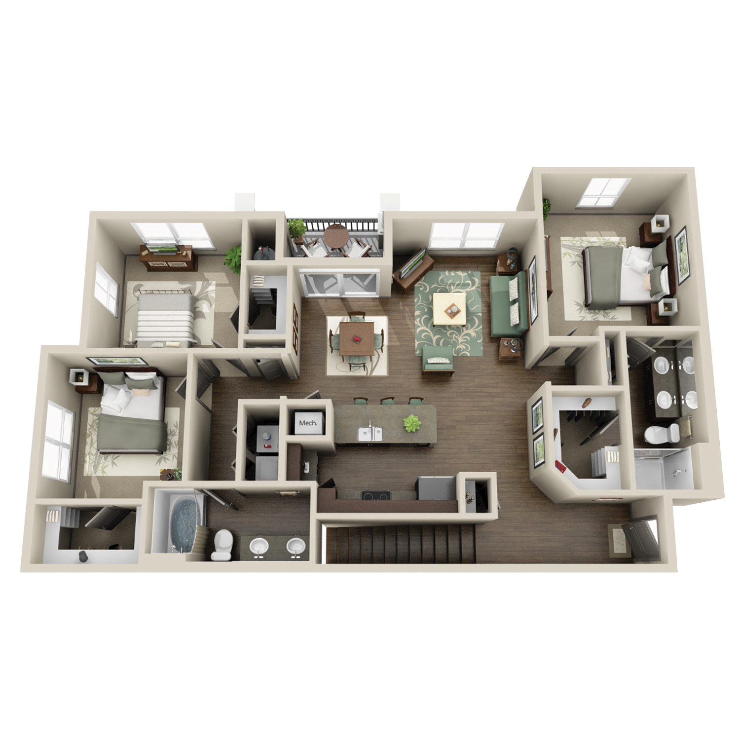 C1B floor plan featuring 3 beds and 2 baths