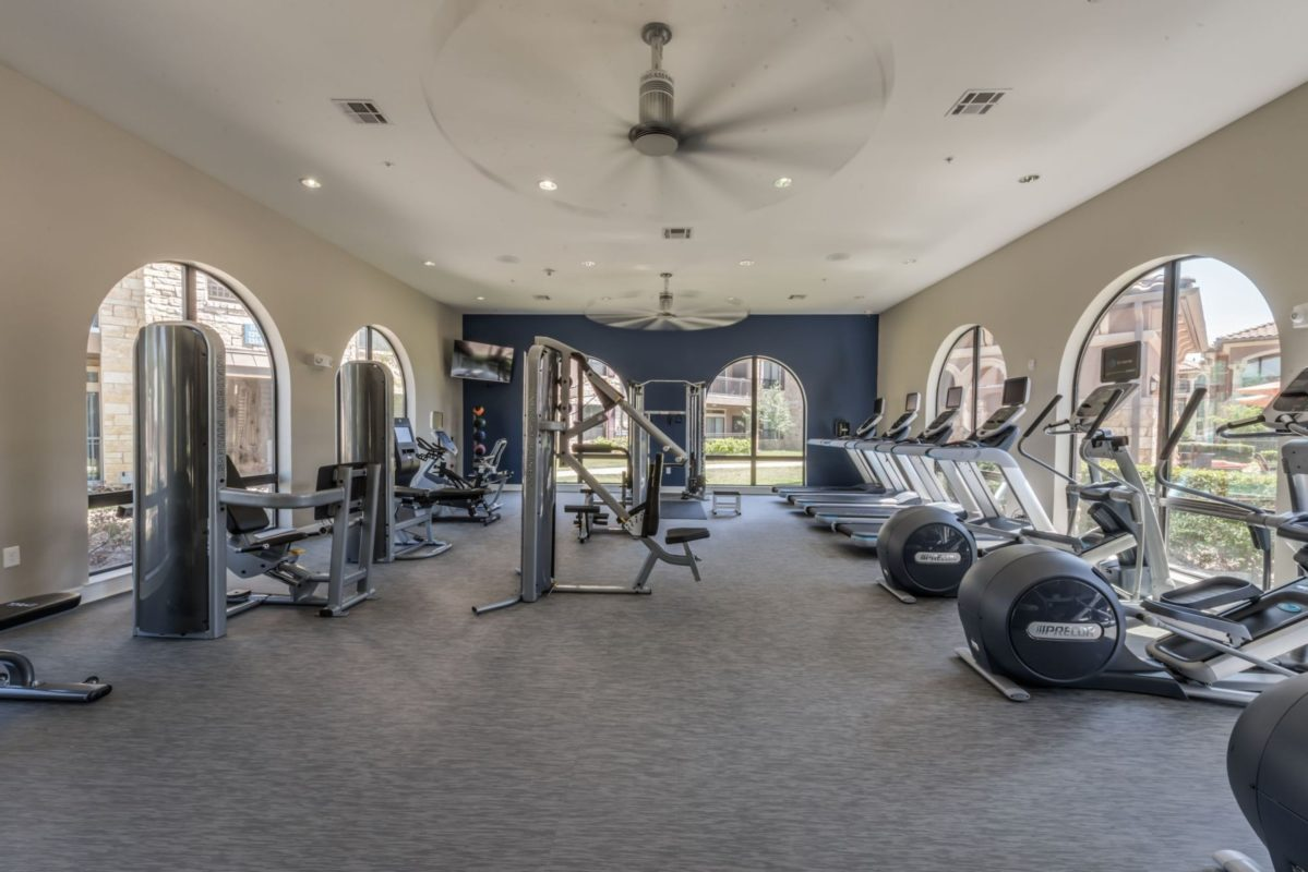 fitness center with training machines
