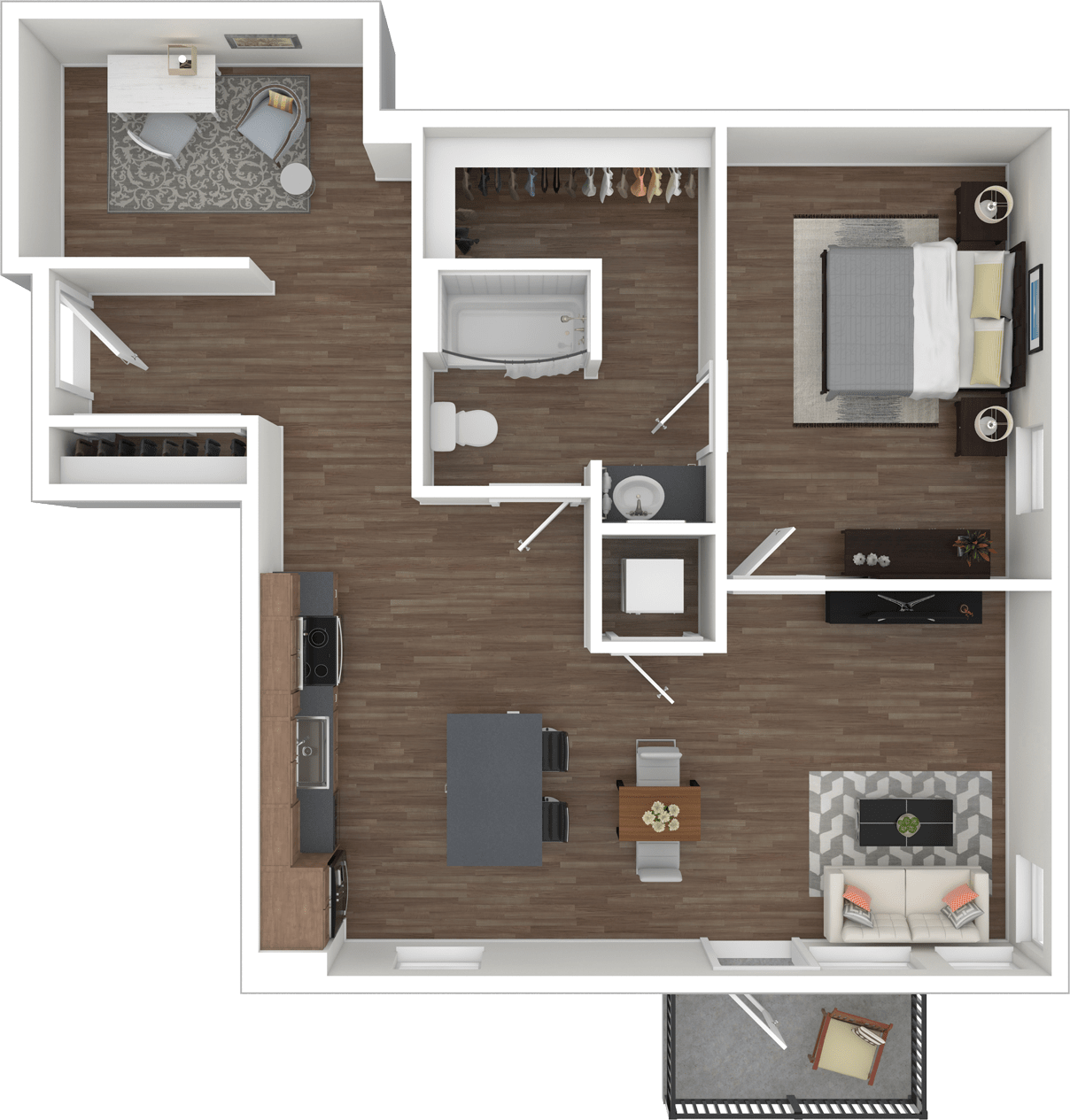 Floorplan A1O 1 Bed 1 bath