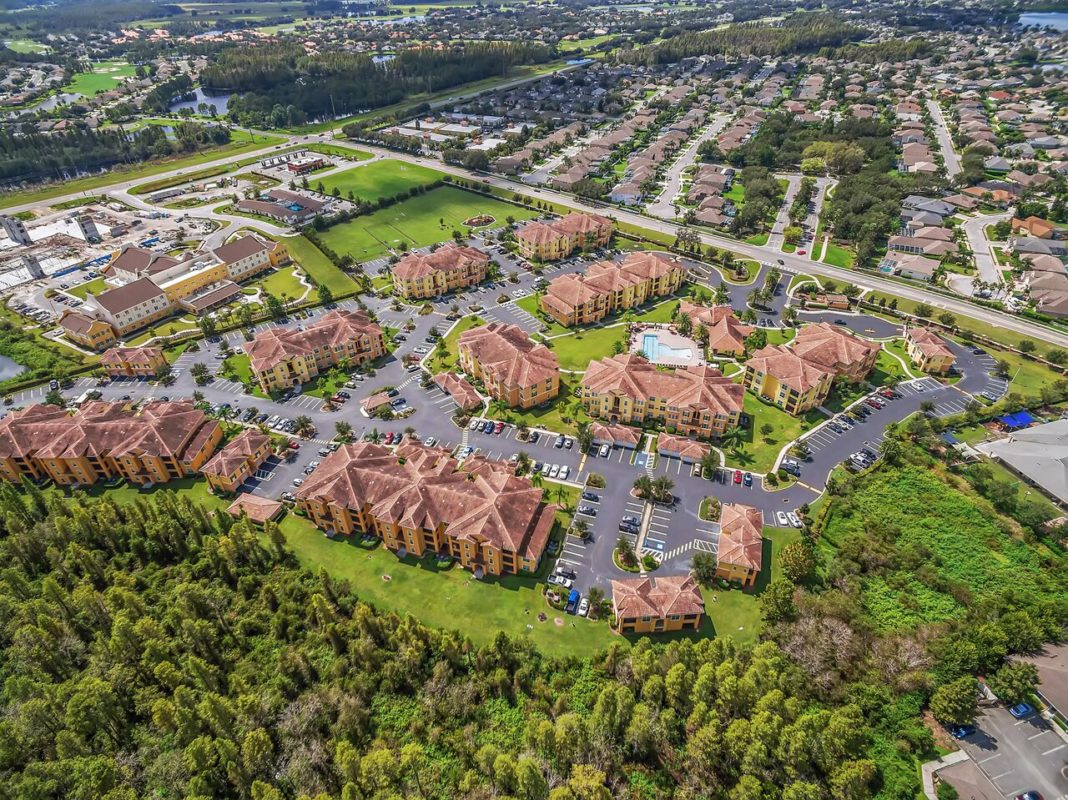 Areal view of apartment community and neighbourhood