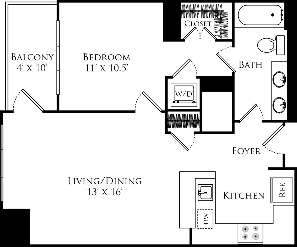 A1A floor plan with 1 bed, 1 bath and is 766 square feet