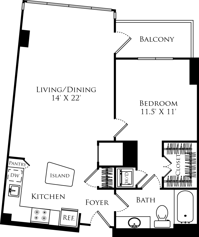 A1B floor plan with 1 bed, 1 bath and is 766 square feet