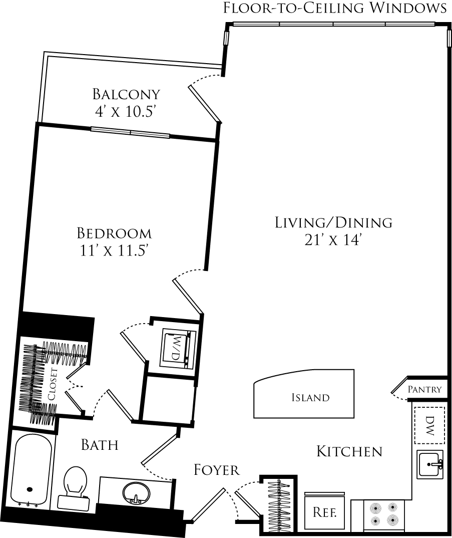 A1C floor plan with 1 bed, 1 bath and is 767 square feet