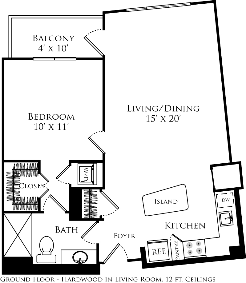A1D floor plan with 1 bed, 1 bath and is 773 square feet