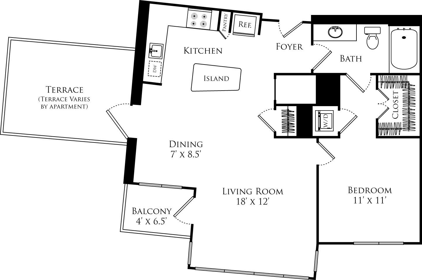 A1E floor plan with 1 bed, 1 bath and is 783 square feet