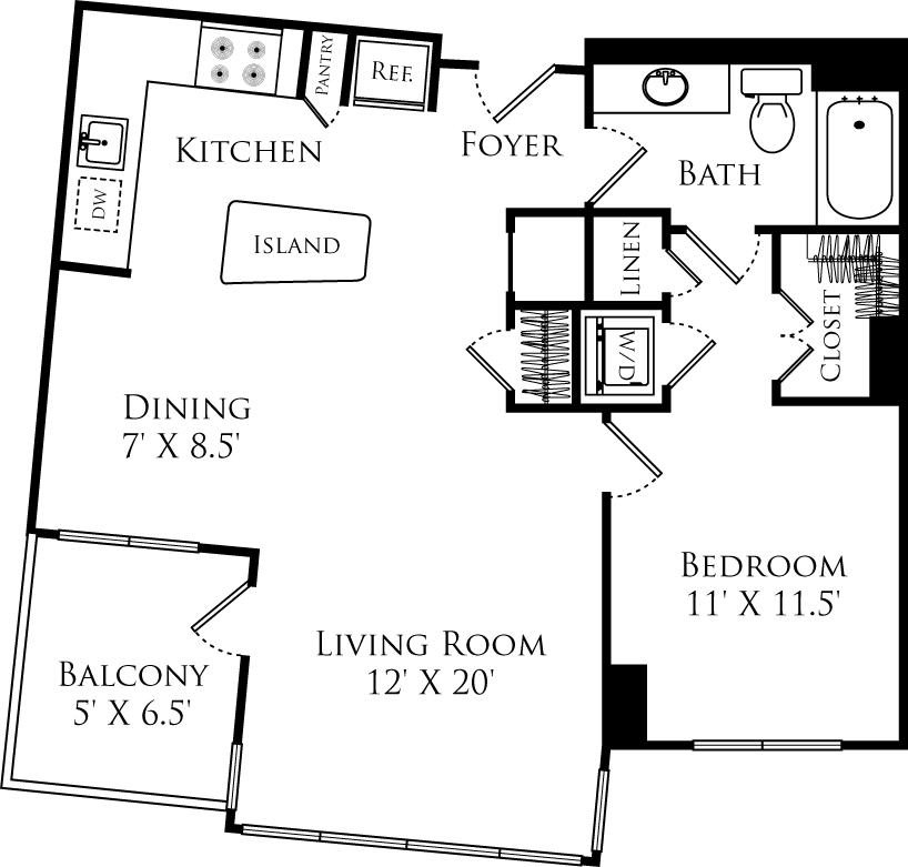 A1F floor plan with 1 bed, 1 bath and is 785 square feet
