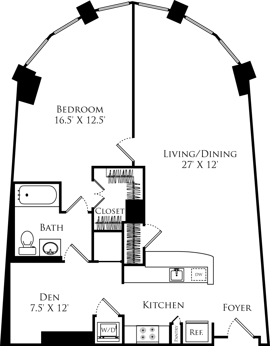 A1G floor plan with 1 bed, 1 bath and is 950 square feet