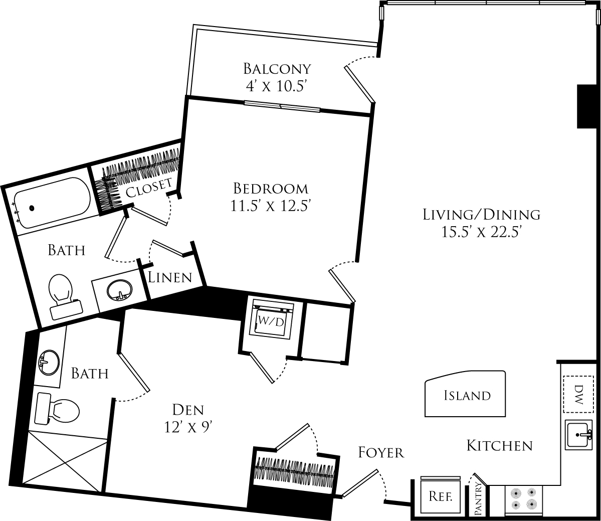 A2B floor plan with 1 bed, 1 den, 2 baths and is 974 square feet