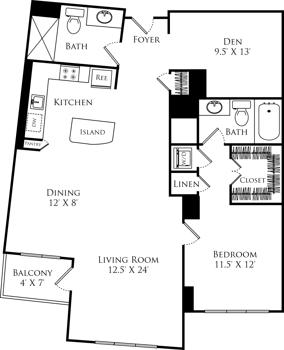 A2D+ Den floor plan with 1 bed, 1 den, 2 baths and is 1148 square feet