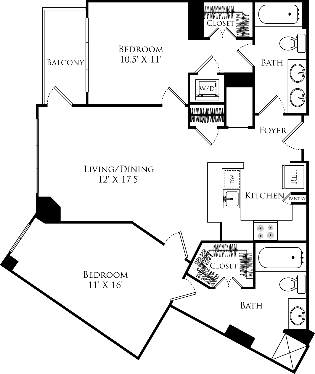 B2A floor plan with 2 beds, 2 baths and is 1016 square feet