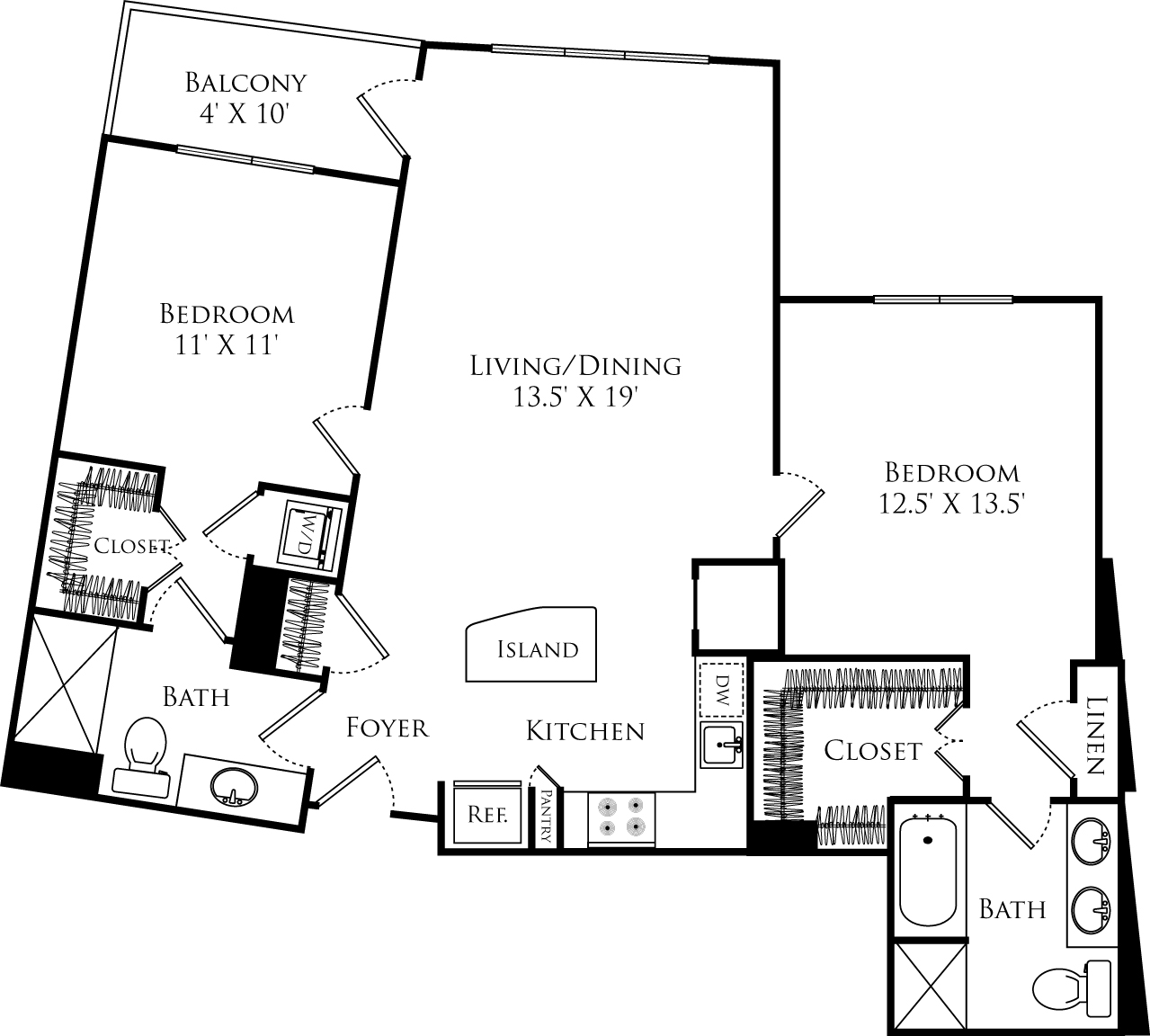 B2E floor plan with 2 beds, 2 baths, and is 1118 square feet