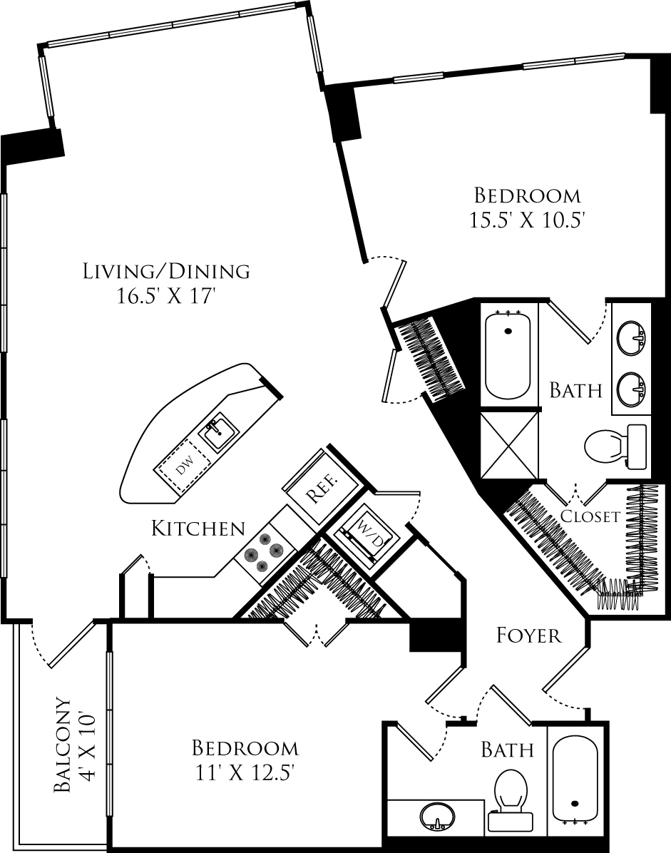 B2G floor plan with 2 beds, 2 baths and is 1158 square feet
