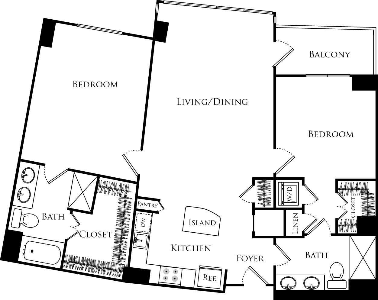B2H floor plan with 2 beds, 2 baths and is 1158 square feet