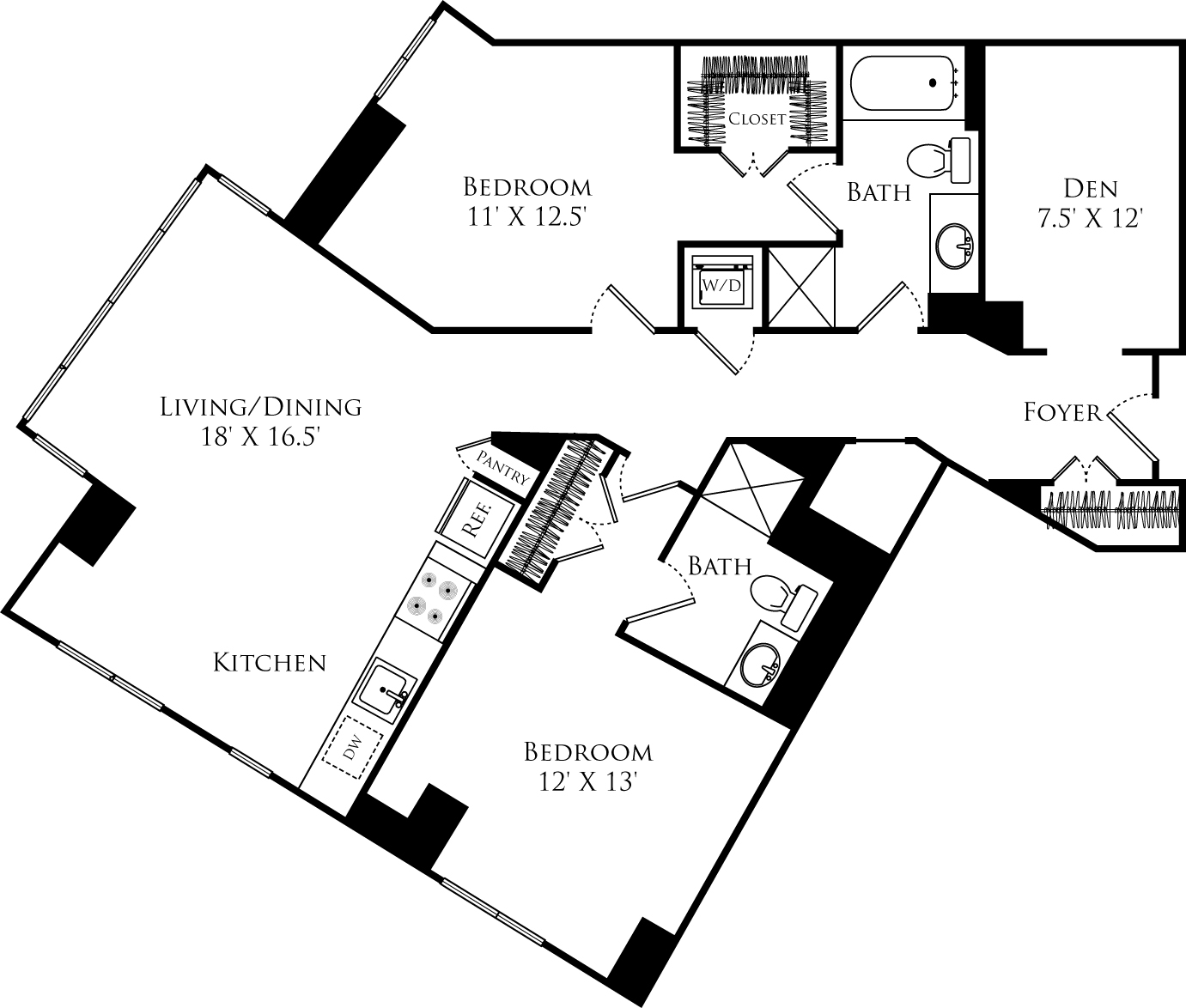 B2L+Den floor plan with 2 beds, 2 baths and is 1178 square feet