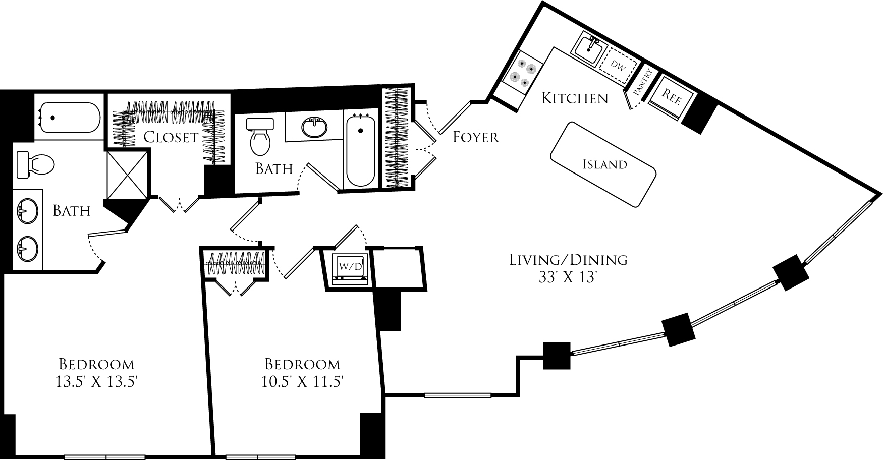 B2M floor plan with 2 beds, 2 baths and is 1188 square feet
