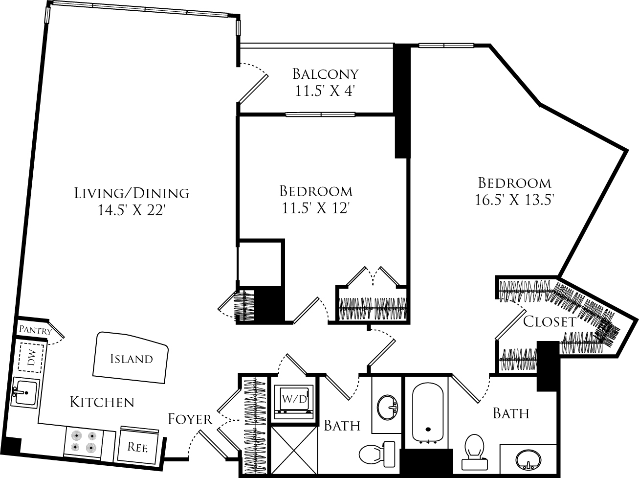 B2N floor plan with 2 beds, 2 baths and is 1191 square feet