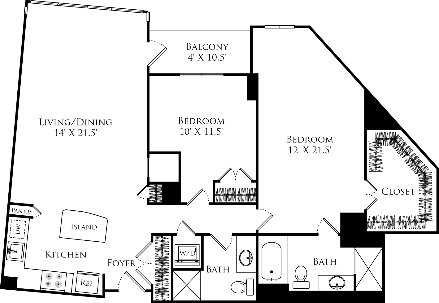 B2P floor plan with 2 beds, 2 baths and is 1256 square feet
