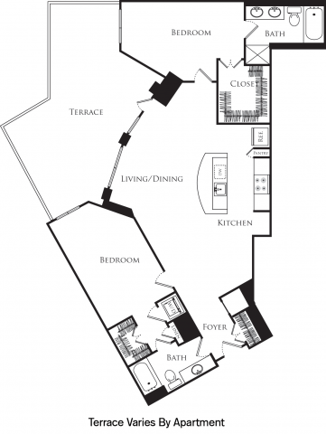 B2Q floor plan with 2 beds, 2 baths and is 1256 square feet