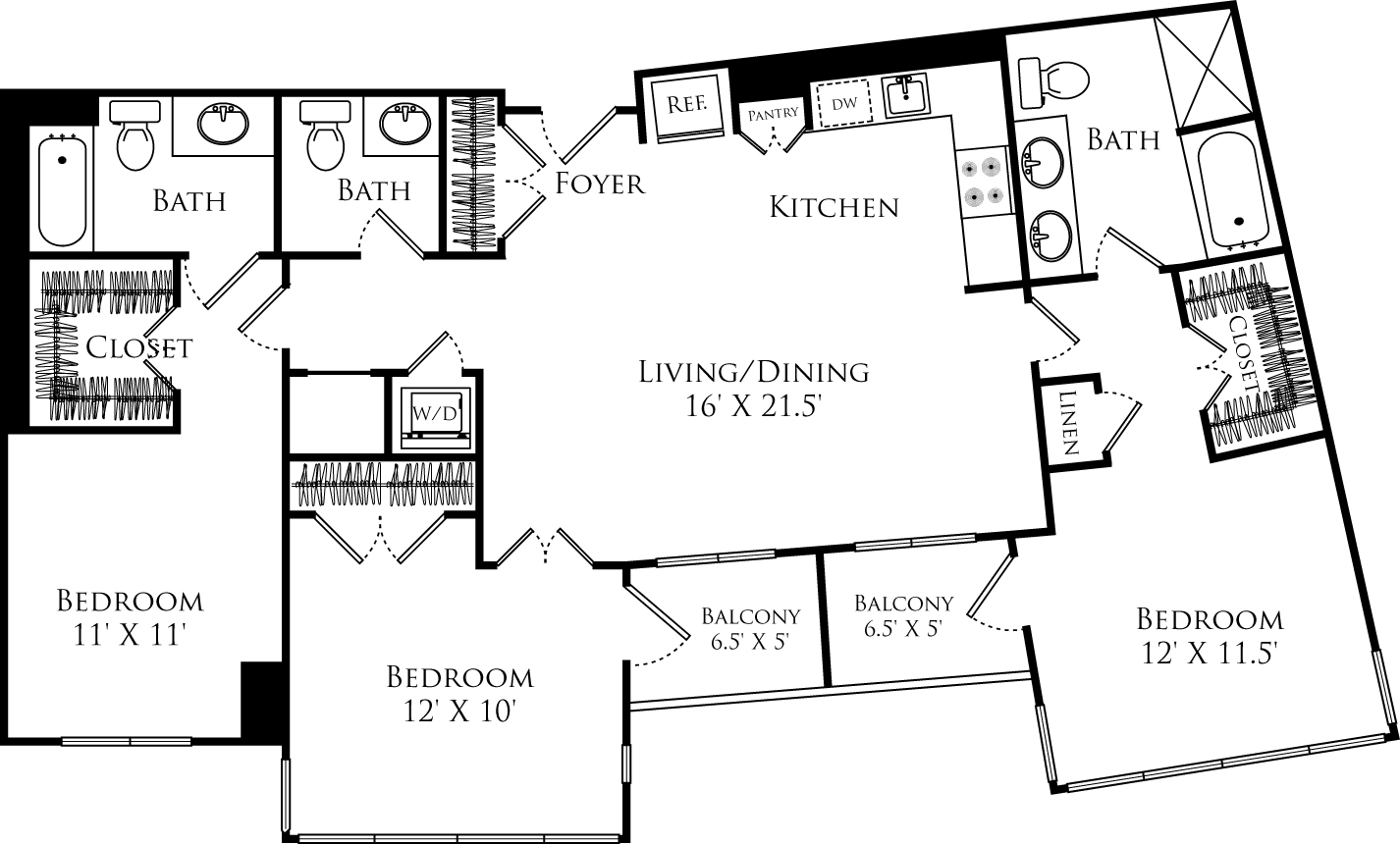 C3A floor plan with 3 beds, 2.5 baths and is 1295 square feet