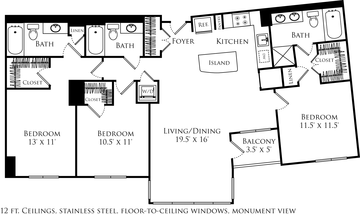 C3B floor plan with 3 beds, 3 baths and is 1377 square feet