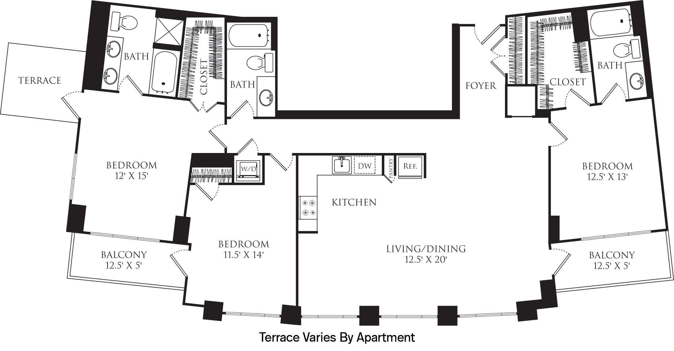 C3E floor plan with 3 beds, 3 baths and is 1635 square feet