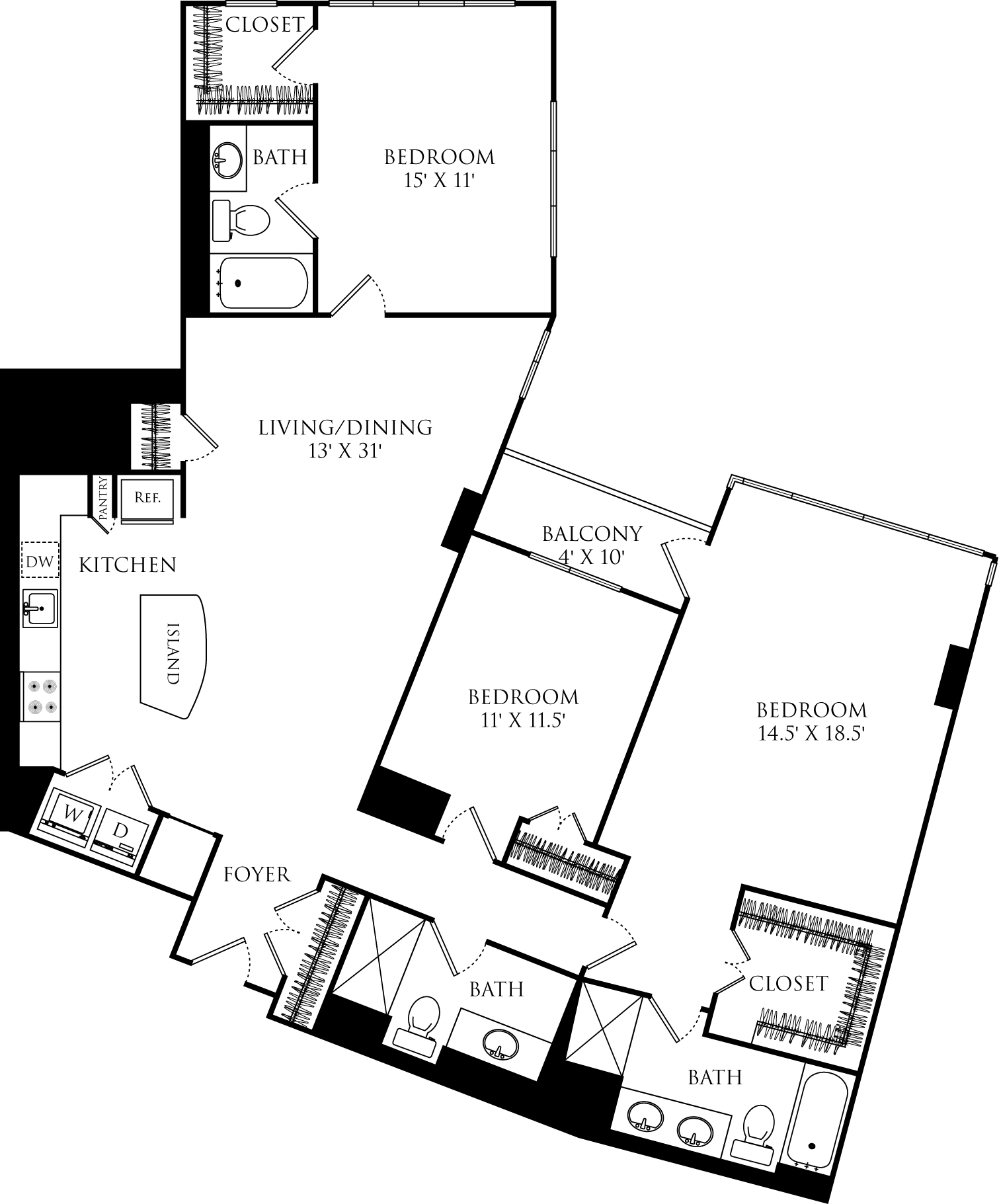 C3G floor plan with 3 beds, 3 baths and is 1641 square feet