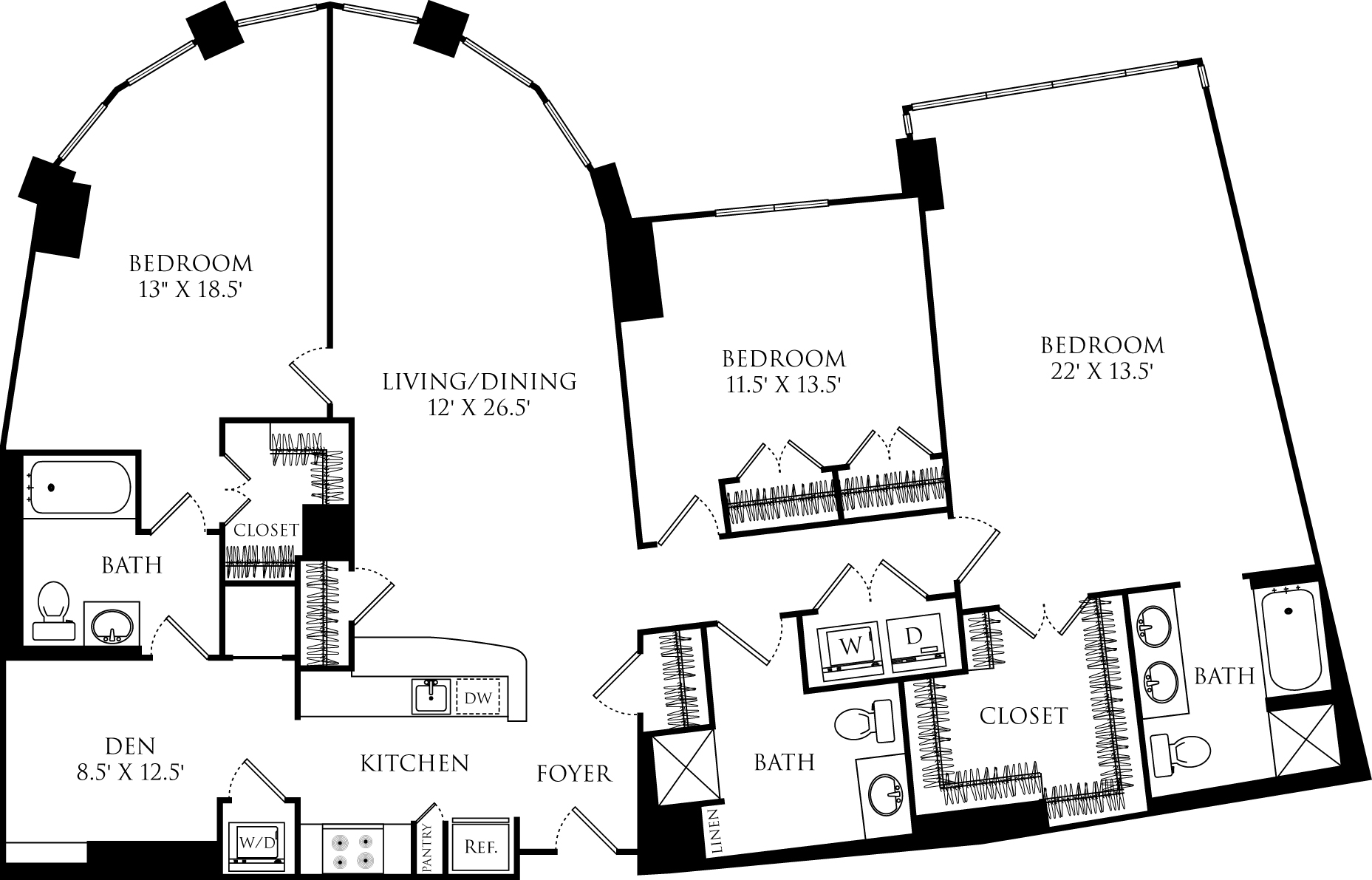 C3H + den floor plan with 3 beds, 3 baths and is 1811 square feet