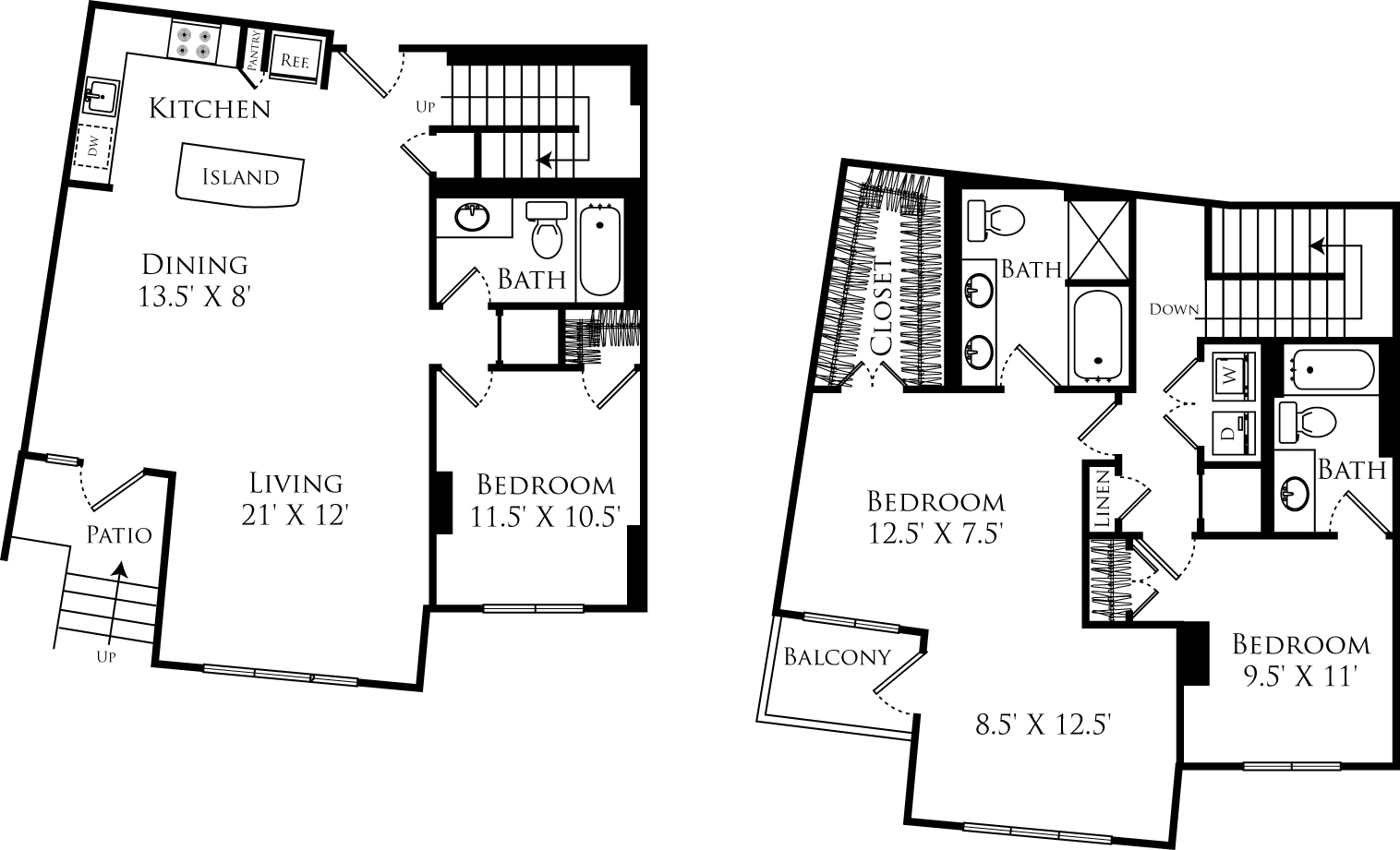 C3J floor plan is a duplex with 3 beds, 3 baths and is 1849 square feet