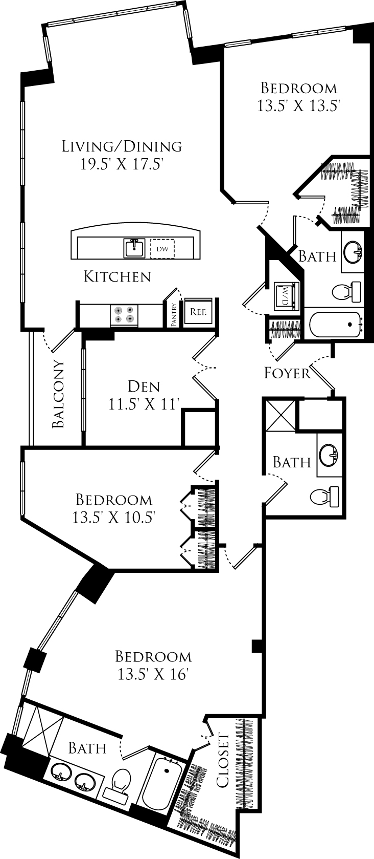 C3K + den floor plan is 3 beds, 3 baths and is 1920 square feet