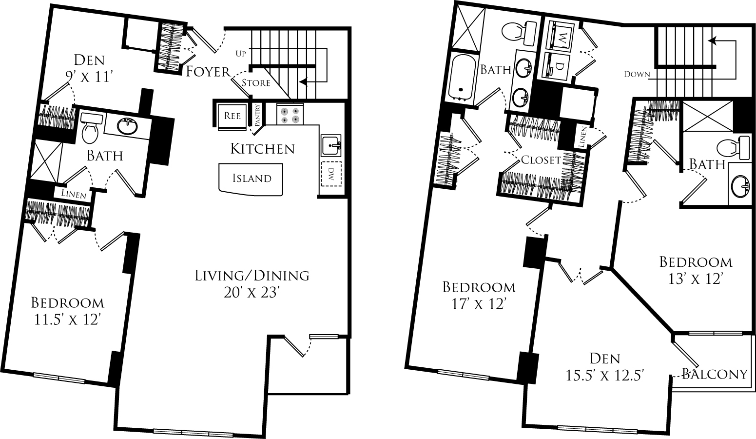 D3A + den floor plan is 3 beds, 3 baths and is 2300 square feet