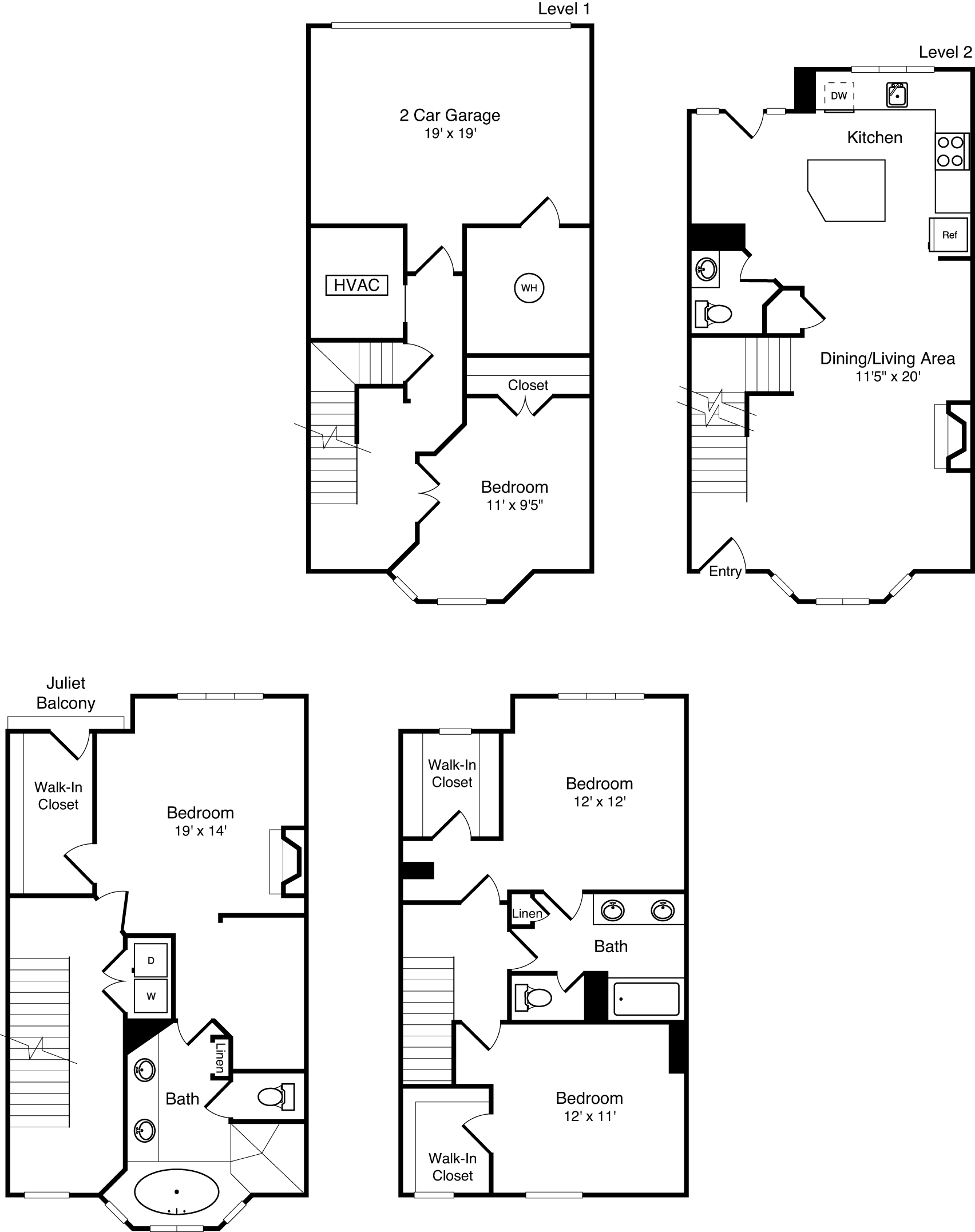 D3C townhouse floor plan is 4 beds, 2.5 baths and is 2832 square feet