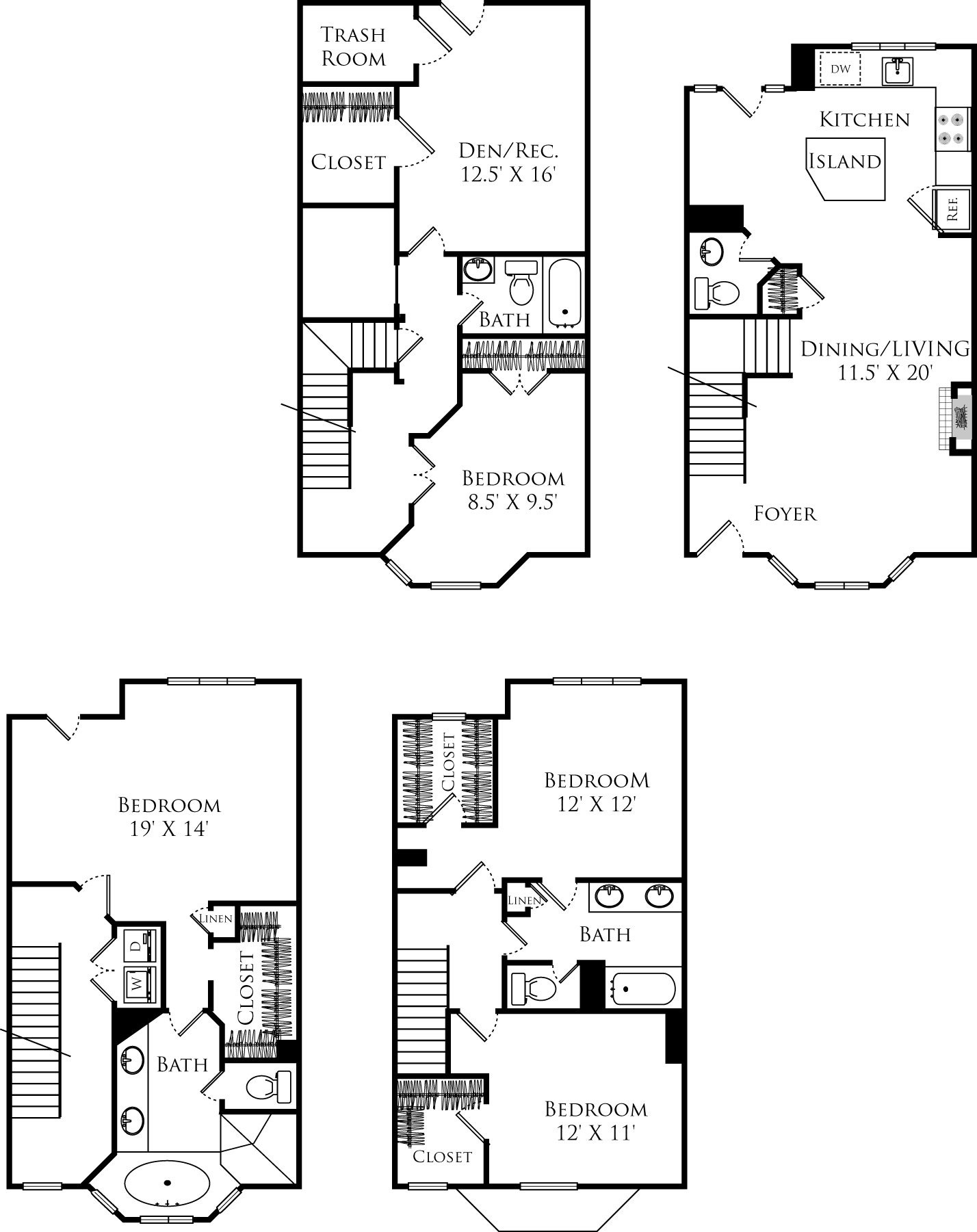 D4A townhouse floor plan is 4 beds, 3.5 baths and is 2832 square feet