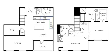 B3A floor plan with 2 beds, 2 baths + den and is 1630 square feet