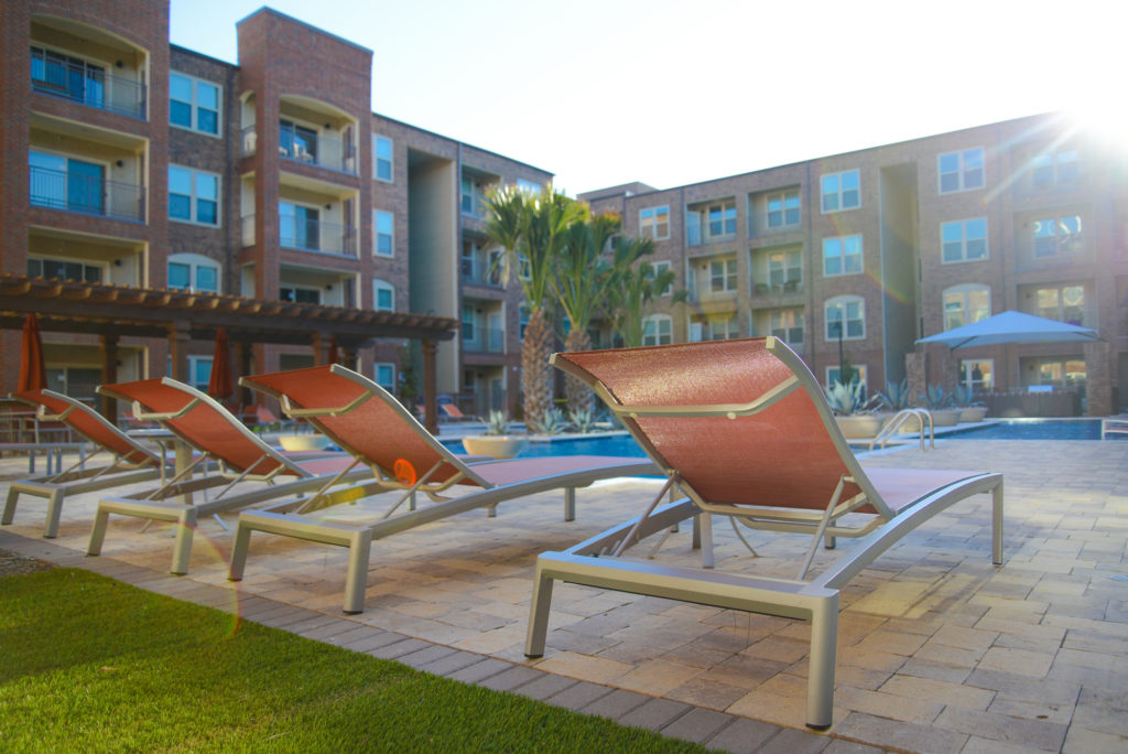 Community poolside lounge chairs