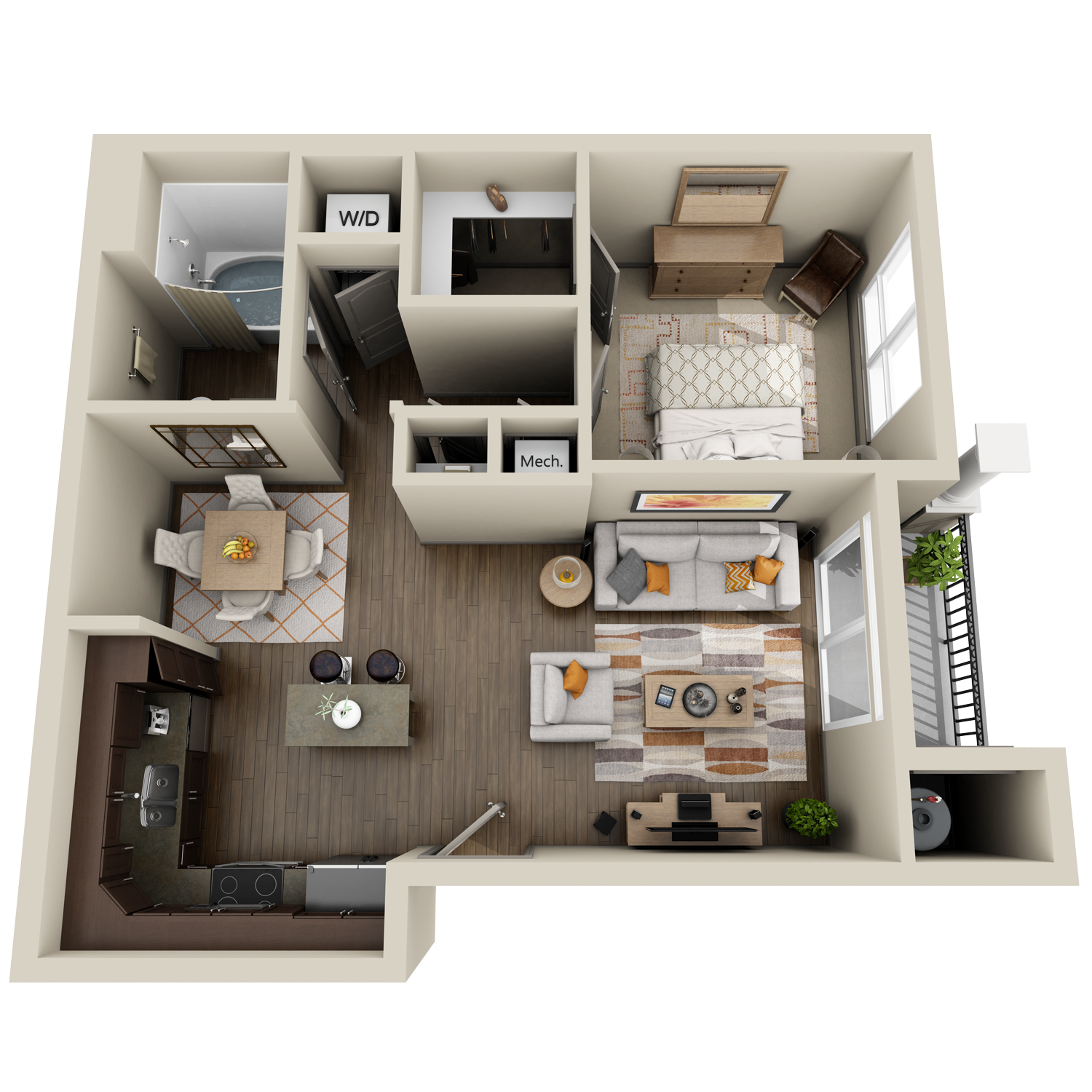 A2 floor plan featuring 1 bed and 1 bath
