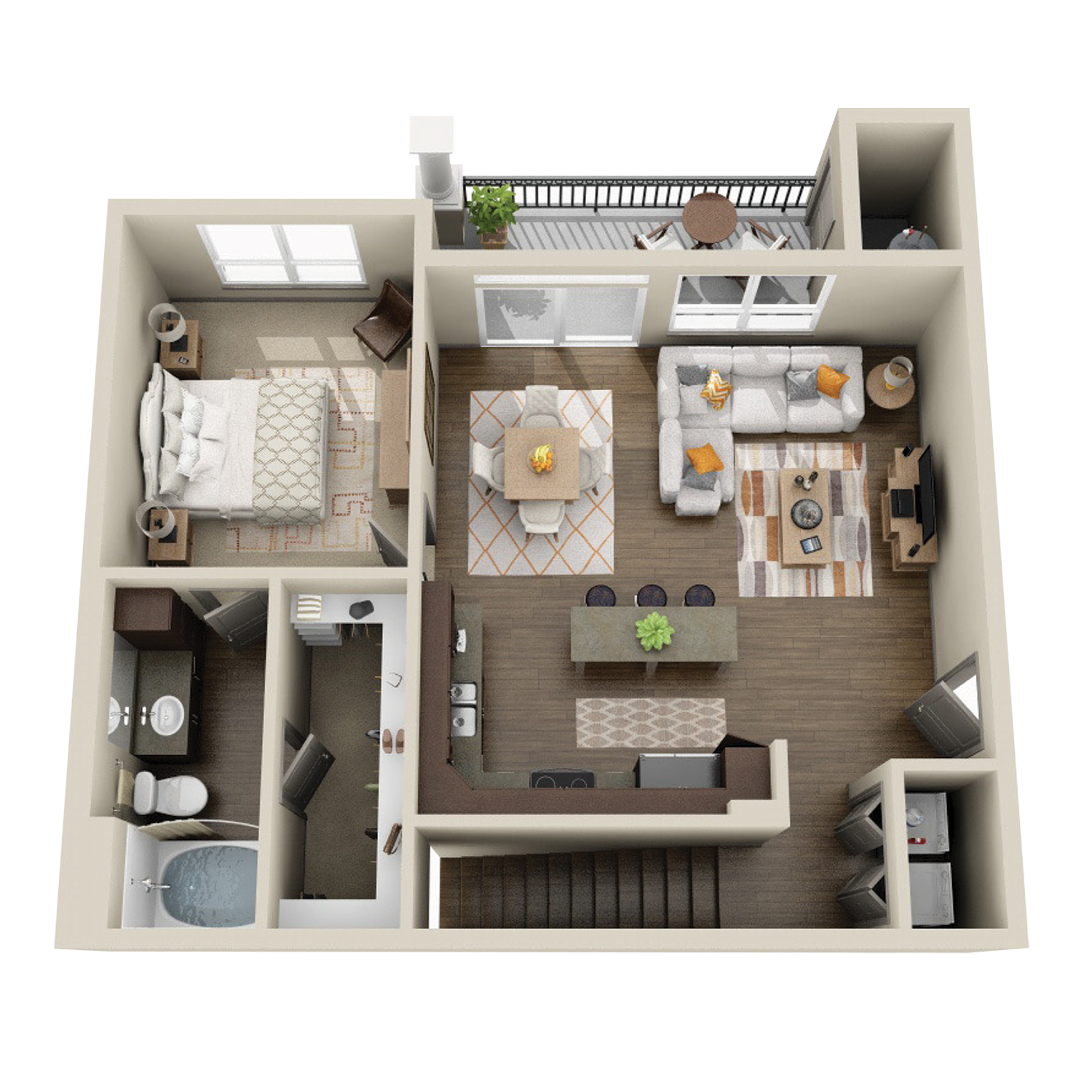 A3B floor plan featuring 1 bed and 1 bath